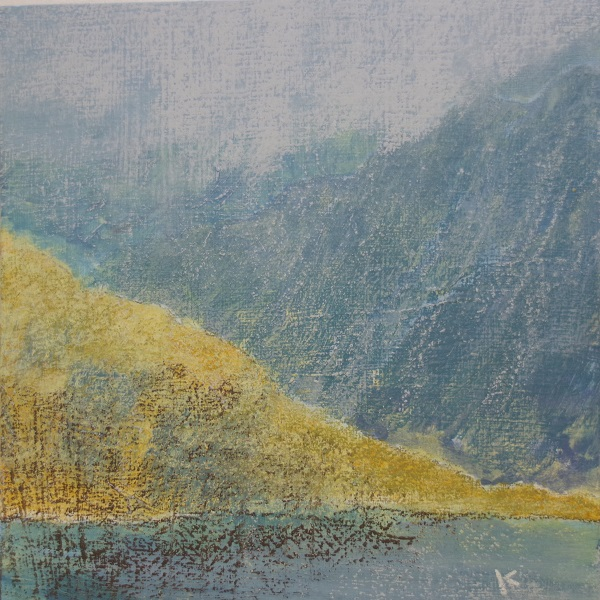 417 'Early evening, Loch Glendhu, Sutherland', Acrylic & Pastel, 2019, 30 x 30cm